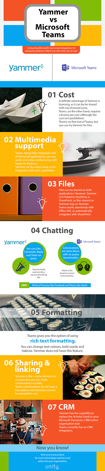 Yammer v Microsoft Teams infographic Unity Technology Solutions small